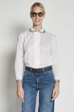 white long-sleeved cotton Shirt with embroidered collar and cuffs