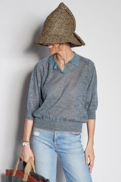 Gray polo shirt in linen