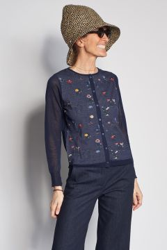 Blue cardigan with embroidered flowers
