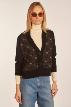 Black cardigan with square and flowers