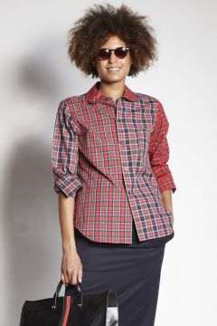 3-color scottish pattern cotton shirt