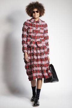 Red tartan pleated skirt