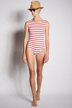One-piece swimsuit with white and red stripes