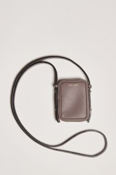 Small gray leather clutch bag with shoulder strap