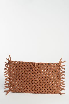 Brown woven clutch bag