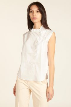 cotton popeline tank top with ruffles