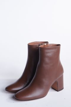 Chocolate leather ankle boot