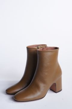 Olive leather ankle boot