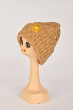 Camel ribbed hat