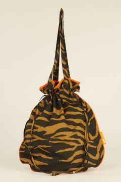Borsa Shopping Waterproof Zebrata marrone e arancione