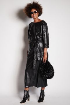 Black faux leather dress with belt