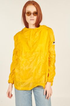 Yellow folding jacket with hood