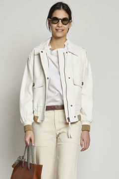 White faux leather jacket with contrasting cuffs