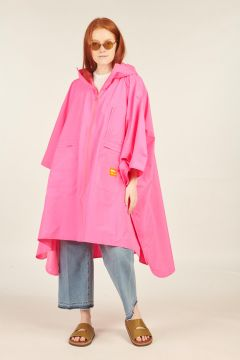 Fuxia Windbreaker Poncho Jacket