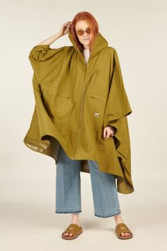 Military Green Windbreaker Poncho Jacket