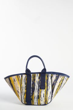 Yellow and blue patterned handbag