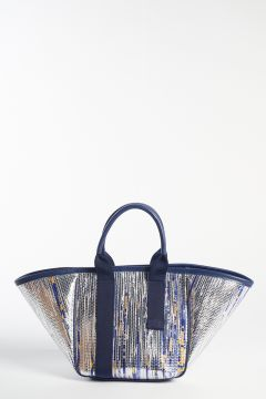 Handbag in silver and blue pattern
