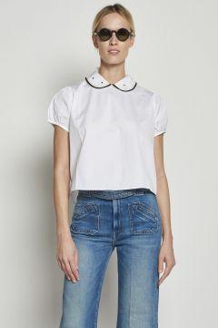 Camicia bianca in cotone a maniche corte