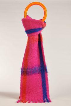 Double checked fuchsia scarf