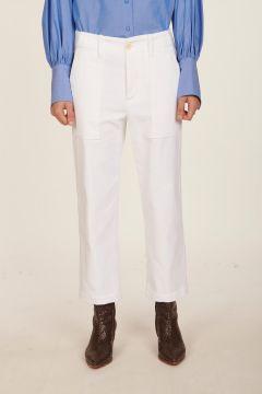 Pantalone bianco in velluto liscio Camille