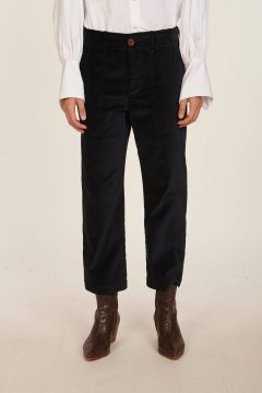 Pantalone blu in velluto liscio