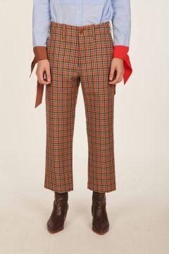 Pantalone stampa check in lana