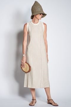 Cream and brown striped dress
