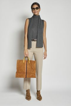 beige cropped trousers