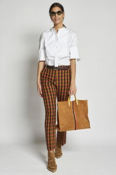 multicolor checked trousers
