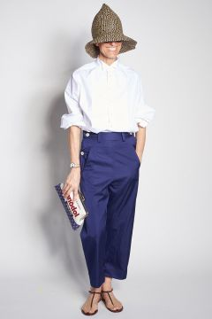 Blue trousers with white buttons