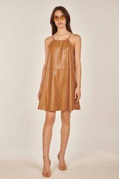 Faux-leather camel Estelle mini dress