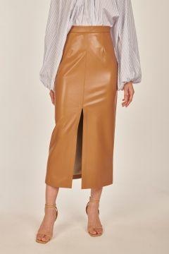 Faux leather camel Vera longuette skirt