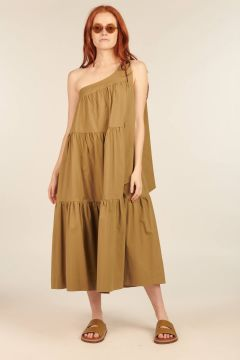 Khaki Dorotea One-shoulder Dress