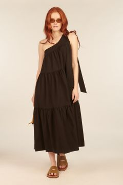 Black Dorotea One-shoulder Dress