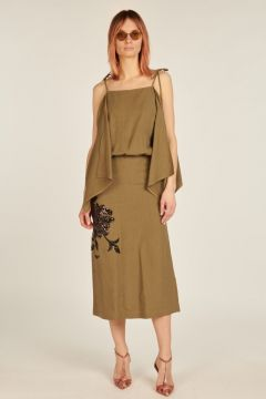Linen Luisa longuette dress with embroidery