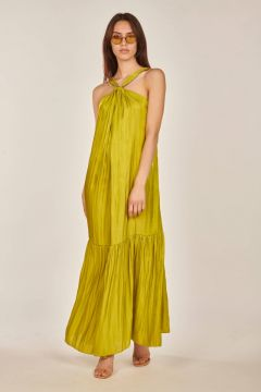 Lime green laminated Linette dress