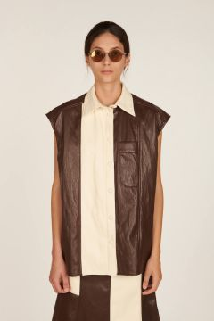 Lucilla waistcoat in brown and off white faux leather