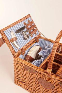 Vichy blue picnic basket