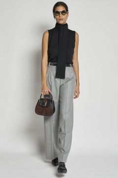 gray wool trousers with pinces