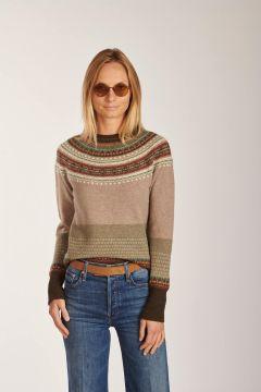Crewneck sweater beige pattern