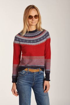 Red pattern crewneck sweater