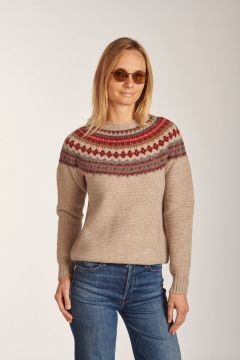Beige patterned crewneck sweater