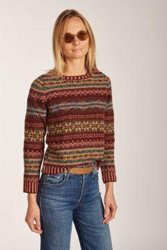 Bordeaux pattern crewneck sweater