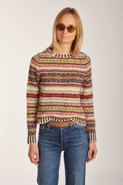 Ivory patterned crewneck sweater