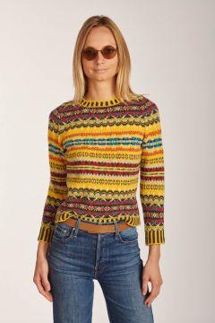 Yellow pattern crewneck sweater