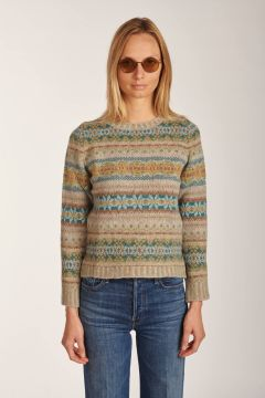Crewneck patterned sweater grey