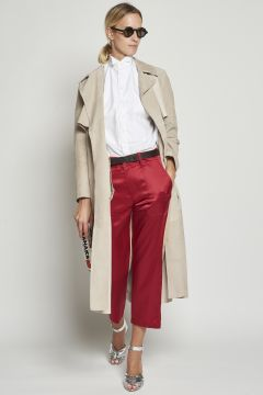 Red and beige double fabric trousers