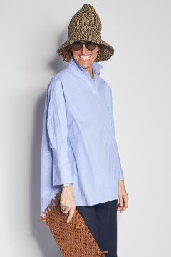 Striped plastron shirt