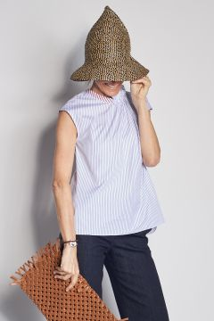 Striped top with asymmetrical smoke point