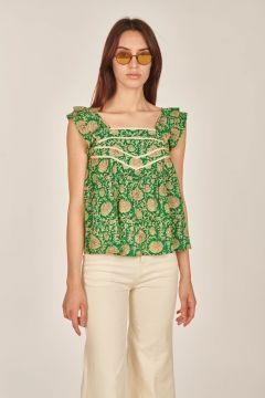 Green floral Peio top